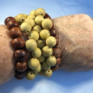 Jewelry - 3for $25 Brown Wood Bead Bracelets